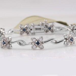 Jewelry - 1.30Ct Sapphire & Diamond 14KW Gold Bracelet